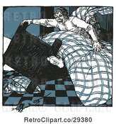 Vector Clip Art of Retro Guy Tipping His Bed and a Mouse Running by Prawny Vintage