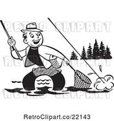 Vector Clip Art of Retro Guy Wading and Trying to Get His Fish in a Net by BestVector