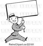 Vector Clip Art of Retro Guy Walking with a Blank Sign by BestVector