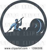 Vector Clip Art of Retro Guy Working out with a Paddle on a Rowing Machine in a Blue and White Circle by Patrimonio