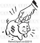 Vector Clip Art of Retro Hand Inserting a Coin into a Piggy Bank by BestVector