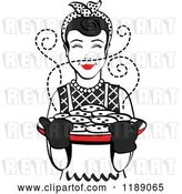 Vector Clip Art of Retro Happy Black Haired Housewife Holding Freshly Baked Cookies by Andy Nortnik