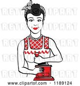Vector Clip Art of Retro Happy Black Haired Housewife Using a Manual Coffee Grinder 2 by Andy Nortnik