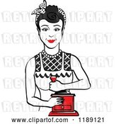 Vector Clip Art of Retro Happy Black Haired Housewife Using a Manual Coffee Grinder by Andy Nortnik