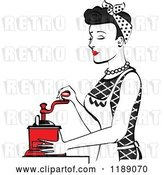 Vector Clip Art of Retro Happy Black Haired Housewife Using a Manual Coffee Grinder in Profile by Andy Nortnik