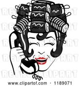 Vector Clip Art of Retro Happy Black Haired Housewife with Her Hair up in Curlers, Laughing While Talking on a Landline Telephone by Andy Nortnik