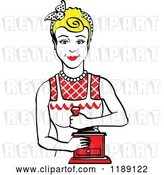 Vector Clip Art of Retro Happy Blond Housewife Using a Manual Coffee Grinder by Andy Nortnik