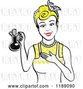Vector Clip Art of Retro Happy Blond Lady in an Apron, Holding up a Bottle of Cooking Oil by Andy Nortnik