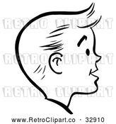 Vector Clip Art of Retro Happy Boy Face in Profile, in Black and White by Picsburg