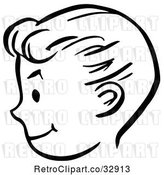 Vector Clip Art of Retro Happy Boy Face in Profile, in by Picsburg