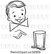 Vector Clip Art of Retro Happy Boy Performing a Moving Coin and Cup Magic Trick by Picsburg
