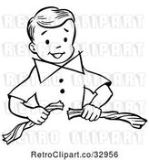 Vector Clip Art of Retro Happy Boy Performing a Super Guy Napkin Breaking Magic Trick by Picsburg