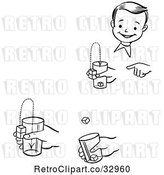 Vector Clip Art of Retro Happy Boy Performing Steps of a Jumping Cubes Magic Trick by Picsburg
