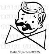 Vector Clip Art of Retro Happy Boy with a Mustache and Bow, in by Picsburg
