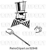 Vector Clip Art of Retro Happy Boy with a Mustache and Magic Wand by Picsburg