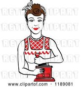 Vector Clip Art of Retro Happy Brunette Housewife Using a Manual Coffee Grinder 2 by Andy Nortnik