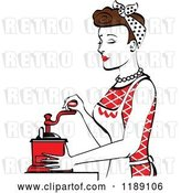 Vector Clip Art of Retro Happy Brunette Housewife Using a Manual Coffee Grinder in Profile 2 by Andy Nortnik