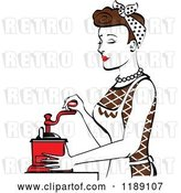 Vector Clip Art of Retro Happy Brunette Housewife Using a Manual Coffee Grinder in Profile by Andy Nortnik