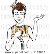 Vector Clip Art of Retro Happy Brunette Lady Shrugging and Using a Salt Shaker 4 by Andy Nortnik