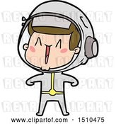 Vector Clip Art of Retro Happy Cartoon Astronaut by Lineartestpilot