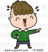 Vector Clip Art of Retro Happy Cartoon Boy Surprised by Lineartestpilot