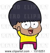 Vector Clip Art of Retro Happy Cartoon Boy Waving by Lineartestpilot