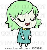 Vector Clip Art of Retro Happy Cartoon Elf Girl by Lineartestpilot