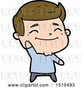 Vector Clip Art of Retro Happy Cartoon Guy Waving by Lineartestpilot