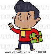 Vector Clip Art of Retro Happy Cartoon Guy with Gift by Lineartestpilot