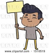 Vector Clip Art of Retro Happy Cartoon Guy with Sign by Lineartestpilot
