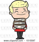 Vector Clip Art of Retro Happy Cartoon Guy with Stack of Books by Lineartestpilot
