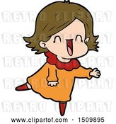 Vector Clip Art of Retro Happy Cartoon Lady by Lineartestpilot