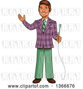 Vector Clip Art of Retro Happy Cartoon Male Game Show Host Holding a Microphone and Presenting by Clip Art Mascots