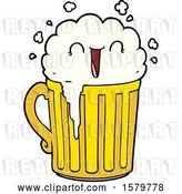 Vector Clip Art of Retro Happy Cartoon Mug of Beer by Lineartestpilot