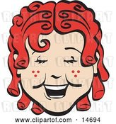 Vector Clip Art of Retro Happy Curly Red Haired Girl with Freckles, Laughing Clipart Illustration by Andy Nortnik