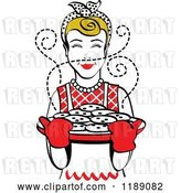 Vector Clip Art of Retro Happy Dirty Blond Housewife Holding Freshly Baked Cookies 2 by Andy Nortnik
