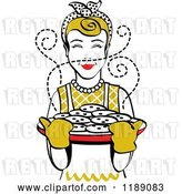 Vector Clip Art of Retro Happy Dirty Blond Housewife Holding Freshly Baked Cookies by Andy Nortnik