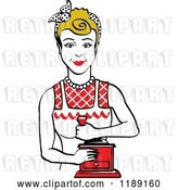 Vector Clip Art of Retro Happy Dirty Blond Housewife Using a Manual Coffee Grinder 2 by Andy Nortnik