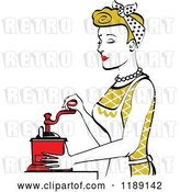 Vector Clip Art of Retro Happy Dirty Blond Housewife Using a Manual Coffee Grinder in Profile 2 by Andy Nortnik