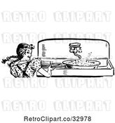 Vector Clip Art of Retro Happy Girl Looking Back While Washing Dishes in a Sink by Picsburg