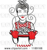 Vector Clip Art of Retro Happy Gray Haired Housewife Holding Freshly Baked Cookies 2 by Andy Nortnik