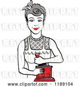 Vector Clip Art of Retro Happy Gray Haired Housewife Using a Manual Coffee Grinder by Andy Nortnik