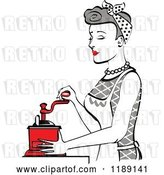 Vector Clip Art of Retro Happy Gray Haired Housewife Using a Manual Coffee Grinder in Profile by Andy Nortnik