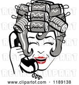 Vector Clip Art of Retro Happy Gray Haired Housewife with Her Hair up in Curlers, Laughing While Talking on a Landline Telephone by Andy Nortnik