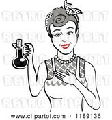 Vector Clip Art of Retro Happy Gray Haired Lady in an Apron, Holding up a Bottle of Cooking Oil by Andy Nortnik