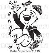 Vector Clip Art of Retro Happy Guy Throwing Money by BestVector