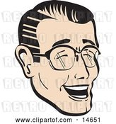 Vector Clip Art of Retro Happy Guy Wearing Glasses and Laughing by Andy Nortnik