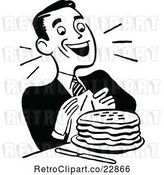 Vector Clip Art of Retro Happy Guy with Pancakes by Prawny Vintage