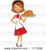 Vector Clip Art of Retro Happy Lady Carrying a Roasted Thanksgiving or Christmas Turkey on a Platter by Amanda Kate