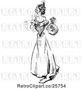 Vector Clip Art of Retro Happy Lady with a Money Bag by Prawny Vintage